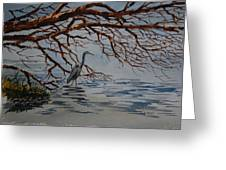 Great Blue Heron Greeting Card by Bill Dinkins