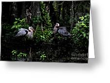 Great Blue Standoff In Watercolor Greeting Card