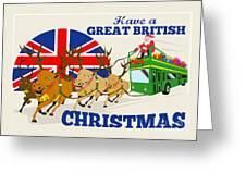 Great British Christmas Santa Reindeer Doube Decker Bus Greeting Card
