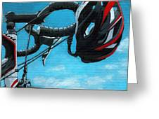 Great Day - Bicycle Oil Painting Greeting Card by Linda Apple