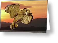 Great Horned Owl At Sunrise Greeting Card
