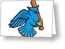 Great Horned Owl Baseball Mascot Greeting Card