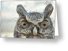 Great Horned Owl Pencil Greeting Card