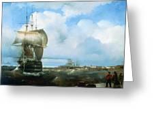 Great Roads At Kronstadt In 1836 715 H93 Ivan Konstantinovich Aivazovsky Greeting Card
