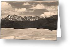 Great Sand Dunes Panorama 1 Sepia Greeting Card