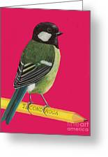 Great Tit Perched On Pencil Greeting Card
