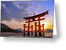 Great Torii Of Miyajima At Sunset Greeting Card