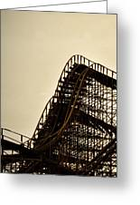 Great White Roller Coaster - Adventure Pier Wildwood Nj In Sepia Triptych 1 Greeting Card