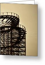 Great White Roller Coaster - Adventure Pier Wildwood Nj In Sepia Triptych 3 Greeting Card