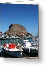 Greece Island Harbor Greeting Card