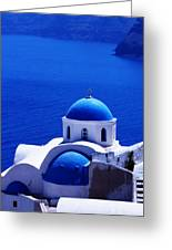 Greek Blue Vertical Greeting Card by Paul Cowan