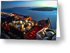 Greek Food At Santorini Greeting Card by David Smith
