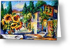 Greek Noon - Palette Knife Oil Painting On Canvas By Leonid Afremov Greeting Card