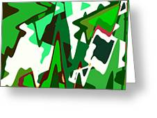 Green Abstract Squared #2 Greeting Card