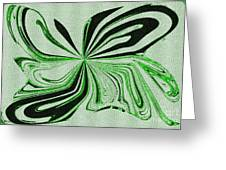 Green And Black Embroidered Butterfly Abstract Greeting Card