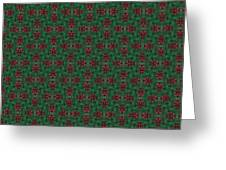 Green And Brown Chunky Cross Mirror Pattern Greeting Card