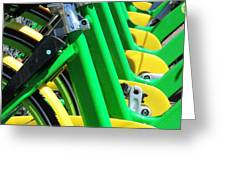 Green And Yellow Bicycles Greeting Card