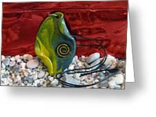 Green And Yellow Spiral Pendant Greeting Card by Chara Giakoumaki
