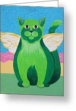 Green Angel Cat Greeting Card