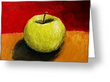 Green Apple With Red And Gold Greeting Card