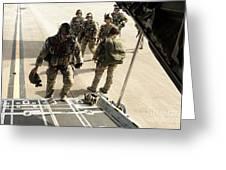 Green Berets Board A C-130h3 Hercules Greeting Card