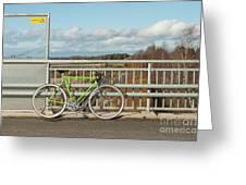 Green Bicycle On Bridge Greeting Card