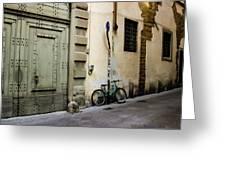 Green Bike And Door Greeting Card