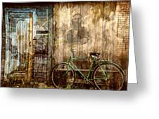 Green Bike Crooked Door Greeting Card