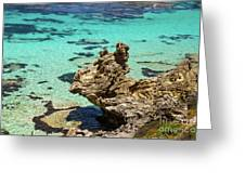 Green Blue Ocean Water And Rocks Greeting Card