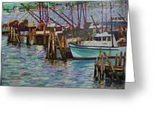 Green Boat At Rest- Nova Scotia Greeting Card