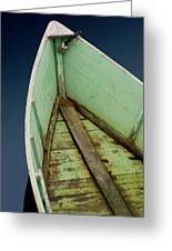 Green Boat Greeting Card