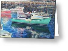 Green Boat Reflections Greeting Card