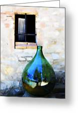 Green Bottle Italian Window Greeting Card
