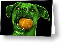 Green Boxer Mix Dog Art - 8173 - Bb Greeting Card