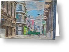 Green Car In Cuba Greeting Card