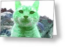 Green Cat Greeting Card