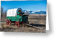 Green Covered Wagon Greeting Card