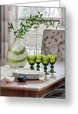 Green Decor Dinning Table Place Settings Greeting Card