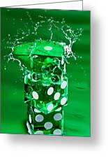 Green Dice Splash Greeting Card