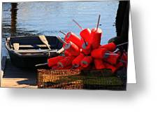 Green Dingy And Bouys Greeting Card