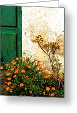 Green Door - Orange Flowers Greeting Card