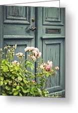 Green Door With Rosebush Greeting Card