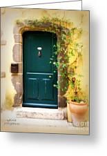 Green Door With Vine Greeting Card