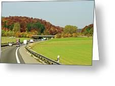 Green Field And Autumn Color Road Greeting Card