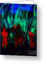Green Flames In The Night Greeting Card