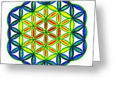 Green Flower Of Life Greeting Card