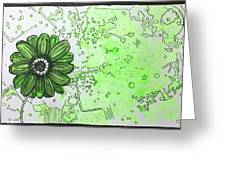 Green Flower Greeting Card