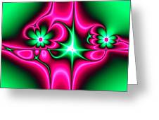 Green Flowers On Pink Ribbons Fractal 64 Greeting Card