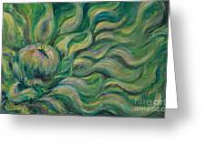 Green Flowing Flower Greeting Card