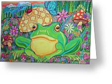 Green Frog With Flowers And Mushrooms Greeting Card